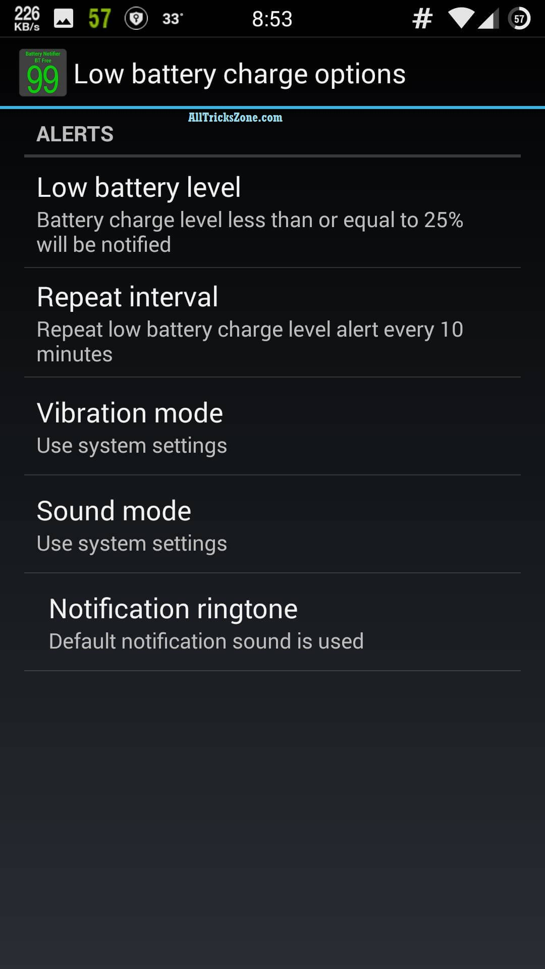 add android low battery warning ringtone