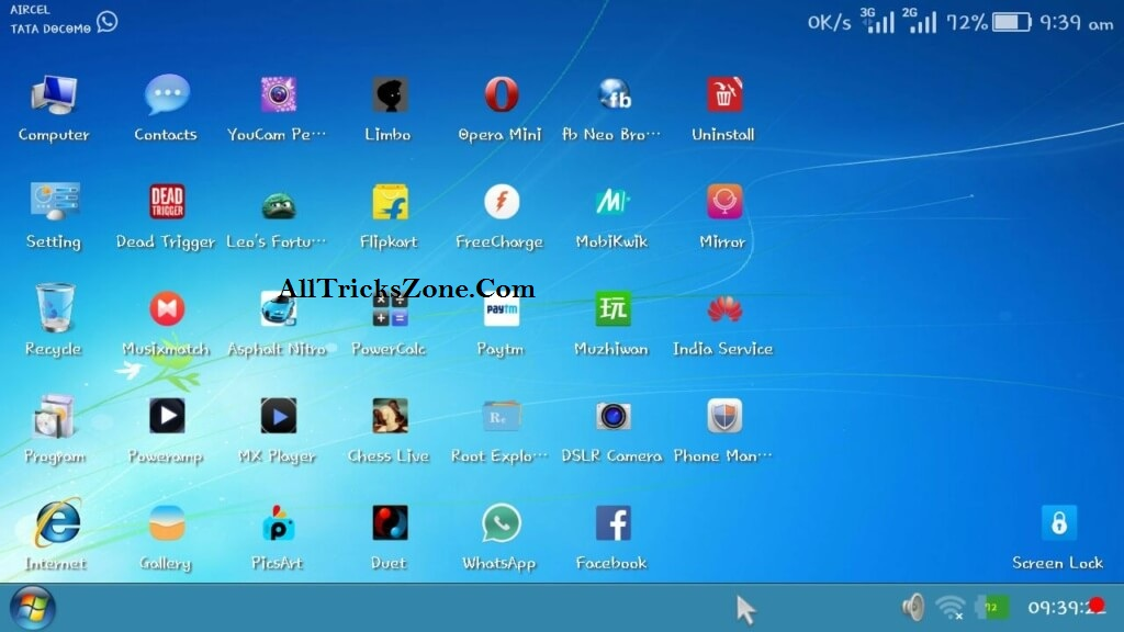 windows 7 launcher for android tablet free download