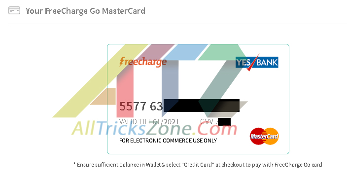 create virtual credit card from freecharge