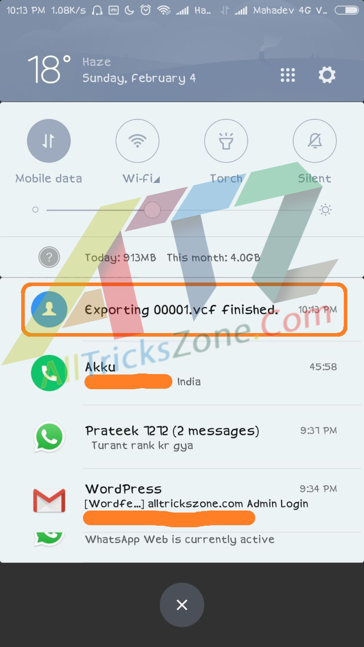 Easily Take Backup of Mi Contacts